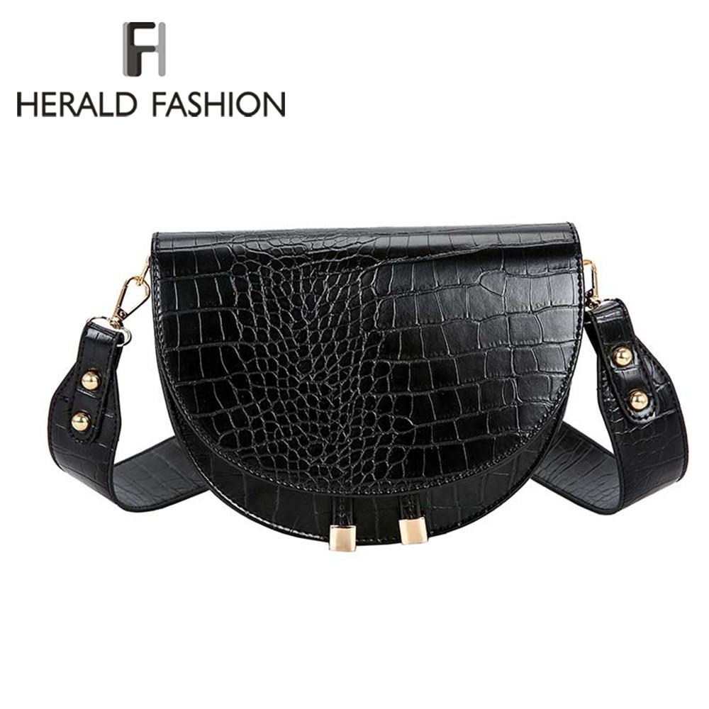 Luxury Fashion Women Crossbody Bag Crocodile Semicircle Saddle Bags Soft Leather Shoulder Bags For Ladies Handbags Designer