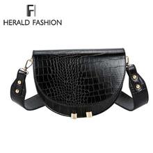 Luxury Fashion Women Crossbody Bag Crocodile Semicircle Sadd