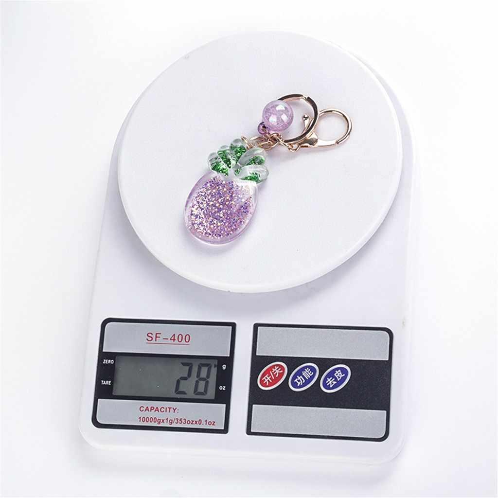 פירות טבעת נוזל מפתח טבעת פנטזיה keychain גליטר חול טובעני חמוד כוכב Keychain CarKey תליון Creative יום הולדת מתנה סיטונאי