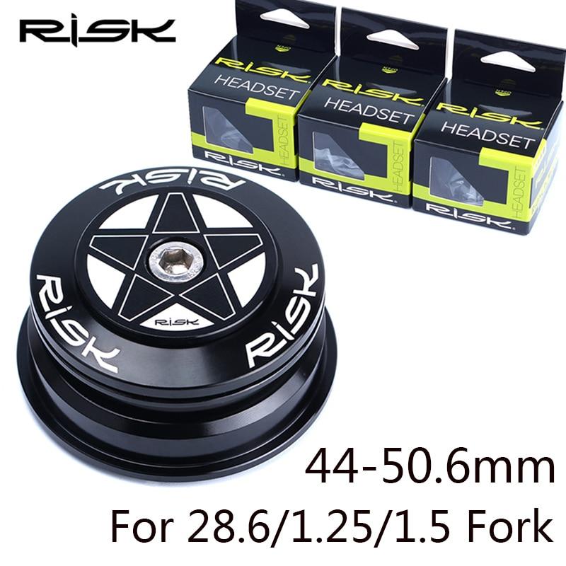 Risk 44-50.6mm 2 Bearing Bicycle Headset CNC Aluminum MTB Road Bike Fork Headset for 28.6 Straight Fork 1.25/1.5 Taper Pipe Fork