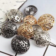 Botones dorados redondos para ropa, adornos para ropa, Manual, suministros de costura y accesorios, botón decorativo para chaqueta
