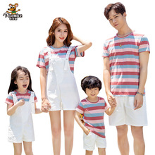 Mother Daughter Overalls Family Matching Outfits Summer Father Son T-Shirts Short Pants Men Boy Women Girl Set Family LooK summer family look clothes boy t shirts mother