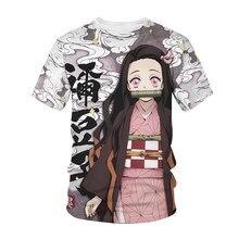 New Arrival mężczyźni koszulka damska Demon Slayer Kimetsu No Yaiba 3D odzież uliczna z nadrukiem T-shirt moda Anime koszulki w stylu Harajuku topy hip-hopowe