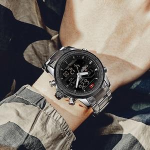 Image 3 - NAVIFORCE montre de luxe pour hommes, en acier, bracelet militaire, numérique de sport, étanche, à Quartz
