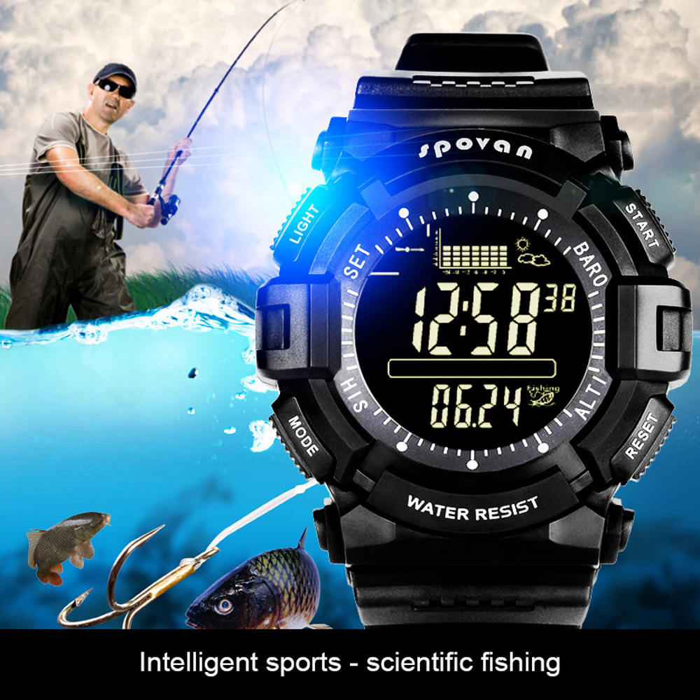 Outdoor Fishing Compass Wrist Watch Tracking Fishing Ground Weather Forecast Altimeter Barometer Thermomete Fishing Smartwatch|Fishing Tools| |  - title=