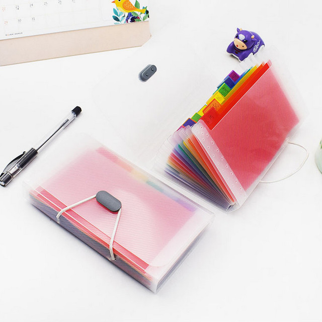 2 Styles A6 Plastic 13 Pockets Expanding File Folder Office Organizer Document Holder File Case Document Box Stationery Boxes 1