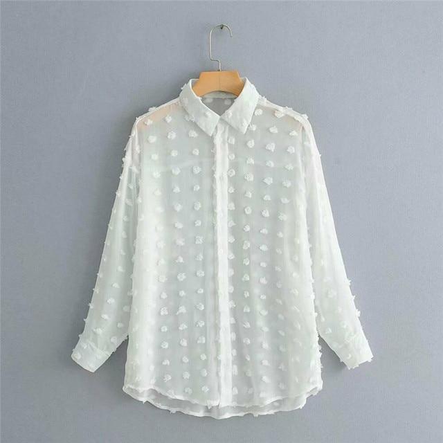 Womens Tops Blouses Elegant Long Sleeve See-through Sheer Mesh Polka Dot Loose OL Shirt Ladies Chiffon Blouse Summer blusa 5