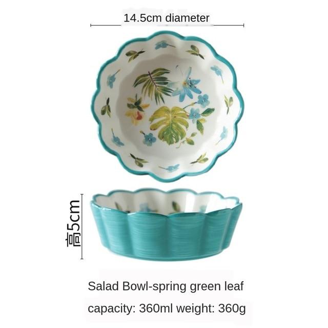 японский стиль ручная роспись керамический милый фруктовый салатник фотография
