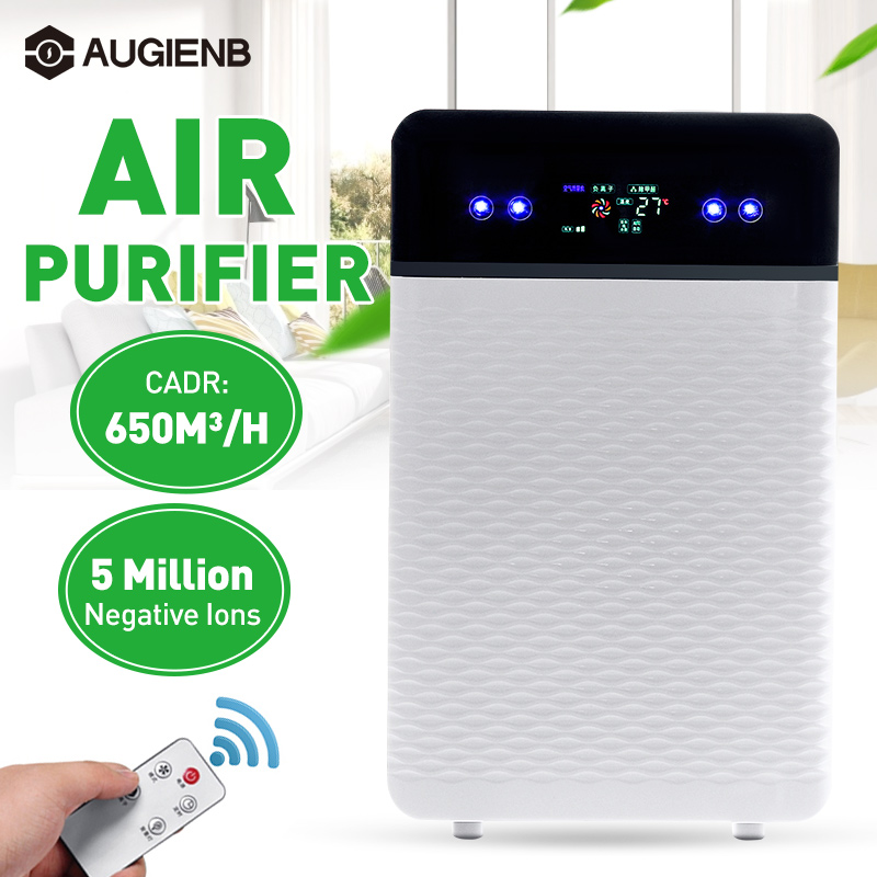 Air Purifier Negative Ions Air Cleaner Remove Formaldehyde PM2.5 Smoke Dust With HEPA Filter Automatic Monitors Remote Control