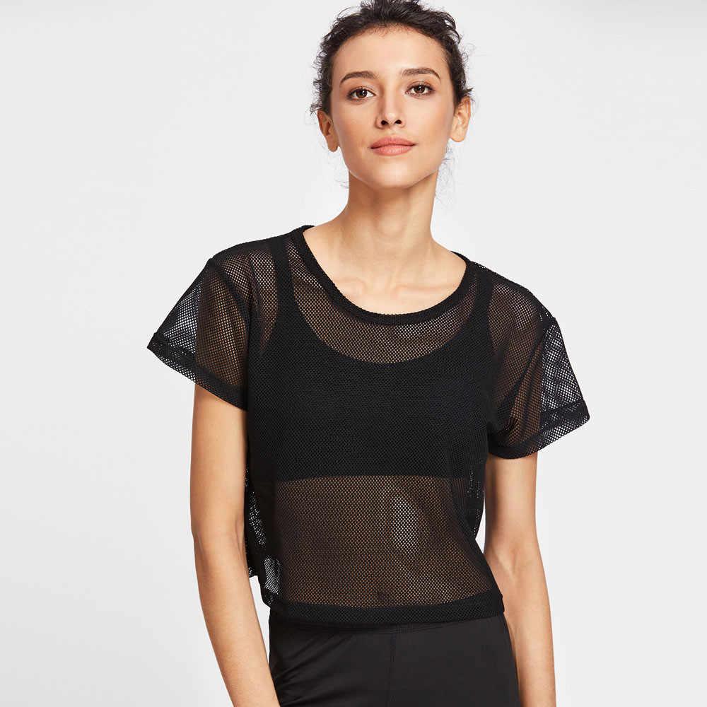 夏の女性のメッシュヨガトップダンスシャツ女性のランニングスポーツフィットネスタンクセクシーな黒ジムクイックドライワークアウト演習 tシャツ c
