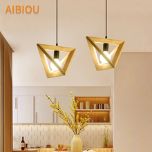 AIBIOU Modern LED Pendant Lights With Triangle Lampshade For Dining Room E27 Bar Lamp Adjust Hanging Wood Luminaire