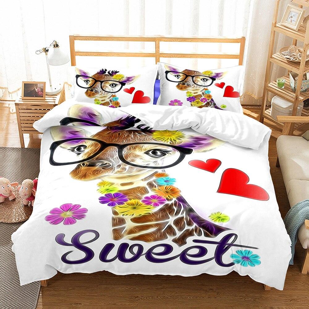 BEST. WENSD doux mignon housse de couette ensemble lunettes cerf animaux ensembles de literie 3D en forme de coeur coton lit couette roi reine taille