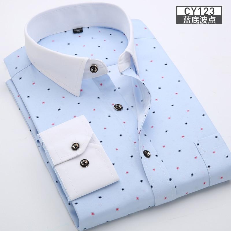 Men Shirt Long Sleeve Floral Printing Plaid Fashion Pocket Casual Shirts 100% Polyester Soft Comfortable Men Dress Shirt DS375 11