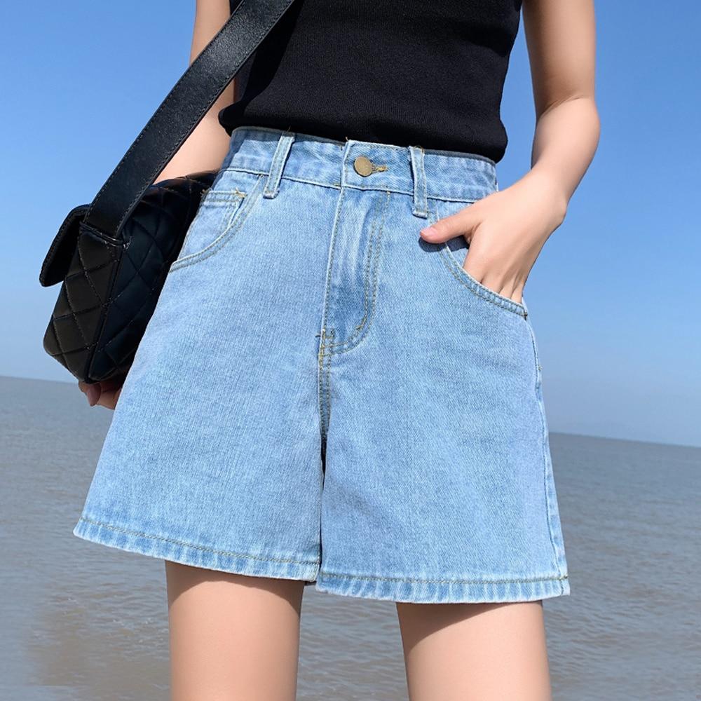 High Waist Wide Leg Denim Shorts Women Female Summer White Loose Students A-Line Hot Shorts Casual Short Femme