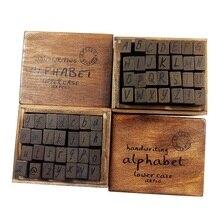 28 unids/set 2 alfabeto para elegir sellos de madera de decoración Vintage texto cursivo-caja de madera de transformación