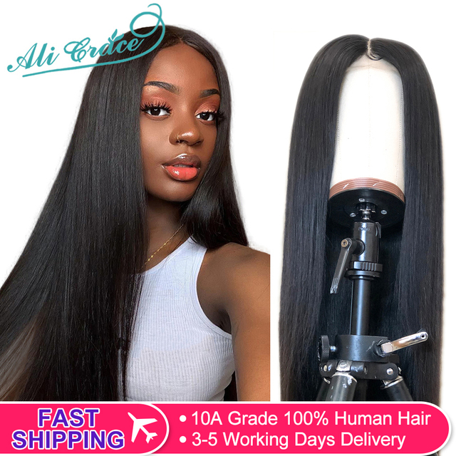 $ US $58.11 Ali Grace Straight Lace Front Wig Pre-Plucked Hairline Brazilian Straight Human Hair Wigs 360 Lace Frontal Human Hair Wig