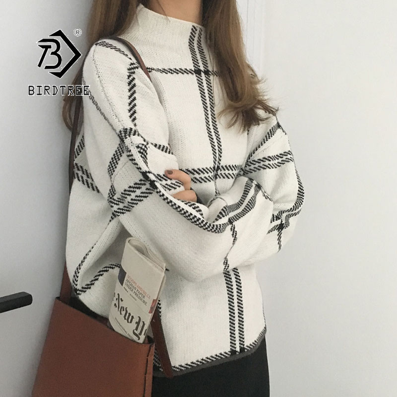2020 Ins Winter New Women's Pullovers Sweater Fashion Plaid Turtleneck Loose Knit Full Sleeve Korean Casual Tops T98301D