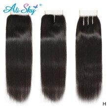 Alisky 4x4 fechamento reto do laço 100% fechamento do cabelo humano tecer cabelo brasileiro remy em linha reta fechamento frontal transparente