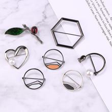 i-Remiel Korean Fashion Safety Pins Pearl Geometric Brooch Female Small Corsage Scarves Buckle for Women Shawl Shirt Accessories