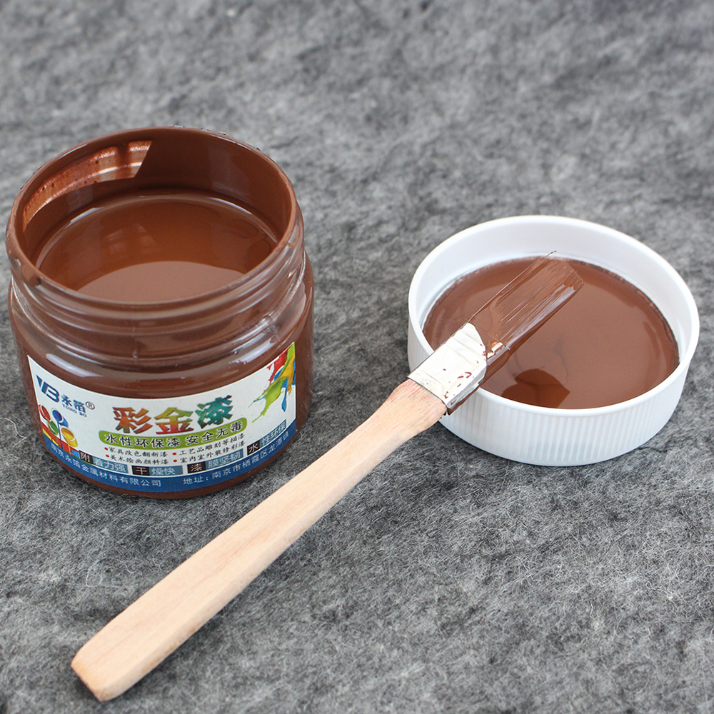 Brown Water-based Paint Metallic Lacquer Wood Varnish Acrylic Paint In Art Craft Wall Door Paint For Wood 100ml Furniture Paint