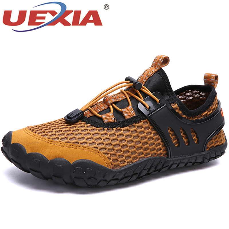UEXIA Fashion Breathable Mesh Men's Shoes Sneakers Boat Outdoor Flats Shoes Men Comfortable Handmade Casual Shoes Big Size 39-47