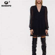 ROHOPO Polk Dot Double Layer Long Sleeve Ruffled Black Chiffon Dress Tunic VCollar Pleated Hem Ladies Holiday Mini Vestido #1281 цена 2017