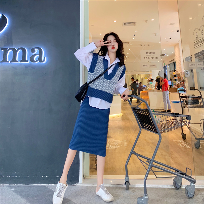 Loose-Fit Early Autumn Online Celebrity Fashion Elegant Shirt Knitted Sweater Waistcoat Skirt Three-piece Set