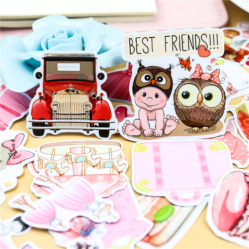 40pcs Cute Stickers DIY Decal Mobile/PC Art Rhinestone Self Adhesive Scrapbooking Stickers Car Sticker Photo Decoration