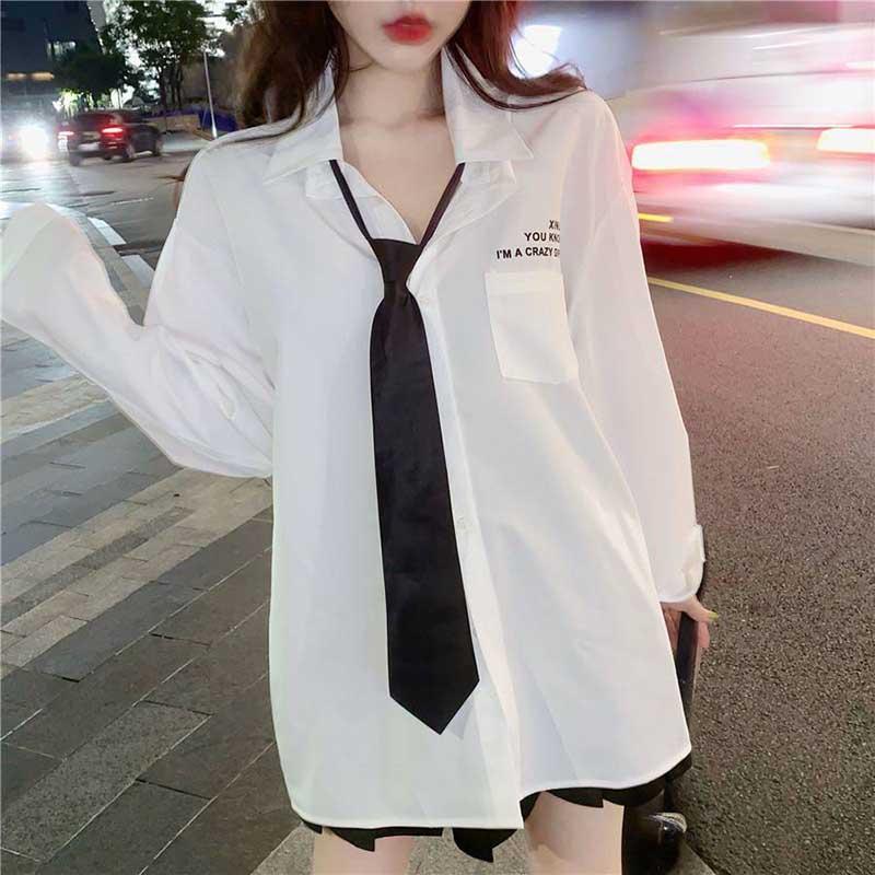NiceMix Vintage Women Blouse Plus Size Loose White Shirt Women Maxi Long Sleeve Boyfriends Long Blouse Mujer With Tie Casual Blu