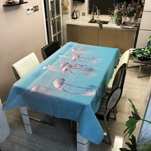 Thick Flamingo Printed Pattern Rectangular Tablecloths Picnic Dustproof Table Cloth Cover Tea Machine Cloth Bedside Cabinet Mat