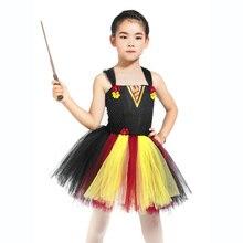 Baby Girl Halloween Black Wizard Robes Kid Cosplay Tutu Dress Set with Magic Wand Child Pearl Flower School Uniform