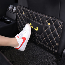 Universal Car Seat Back Protector Cover Children Anti-kick Pad Wear-proof Anti-Dirty Mat Little Monster Pattern with Storage Bag car seat kick mat for lincoln mkz leather seat back protector proof anti dirty interior car accessories protection