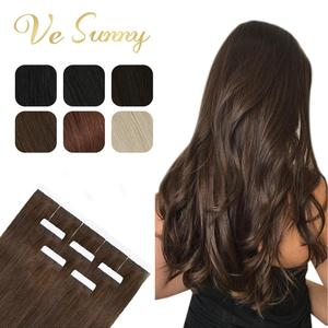 Image 1 - [Heißer Verkauf] VeSunny Band in Haar Extensions 100% Echte Menschliche Haar Feste Adhesive Haut Schuss Kleber auf Maschine made Remy Blonde 50gr