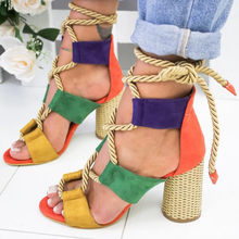 Women Pump Gladiator High Round Heel Hemp Cane Suede Open Toe Lace Up Wedding Shoes Platform Ladies Sandal Sapato Feminino ggxSa(China)