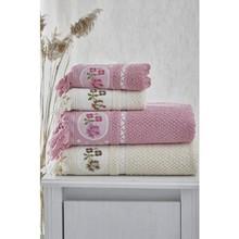 Şengil Home Textile Şengilevtekstil 4'lü Bath Towel Set/cream-Pink
