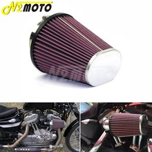 For Harley Softail Road King FLHR 2008-2016 Red High Flow Air Filter Element Oval Tapered RC-3680 Air Cleaner Intake Replacement