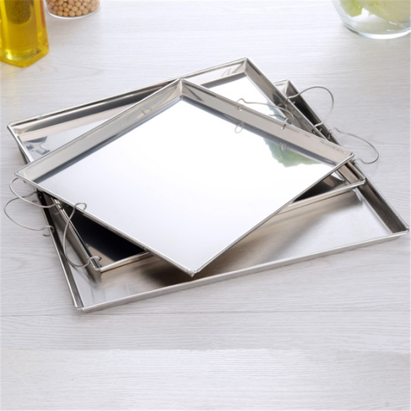 stainless steel Square plate with handle China food maker tray fruite Dessert dishes and plates sets restaurant supplies machine