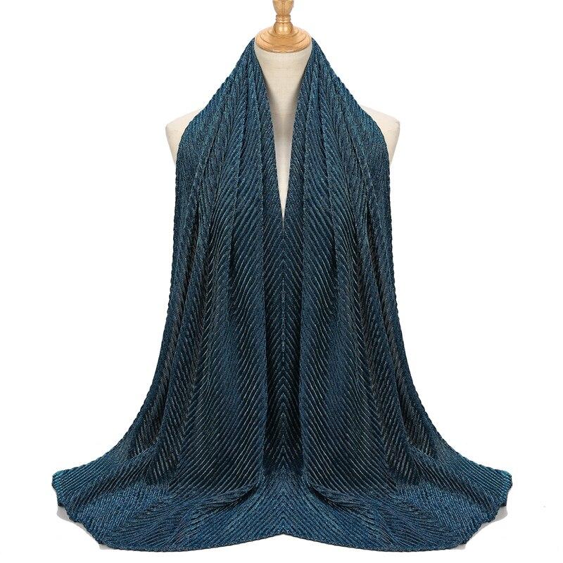 Shinny Jersey Scarf Pleated Crinkle Women's Hijab Muslim Head Wrap Wrinkle Shawl Scarves Plain Colours