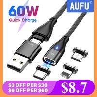 AUFU 6 in 1 cavo caricabatterie rapido PD da 60W USB C a tipo C cavi dati Micro magnetici per iPhone cavo di ricarica per Macbook laptop
