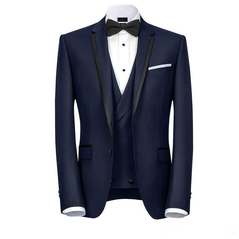Cheap Prom Navy Blue Mens Suits One Button Groomsmen Wedding Tuxedos Notched Lapel Groom Suit Three Pieces( Jacket+Vest +Pants )