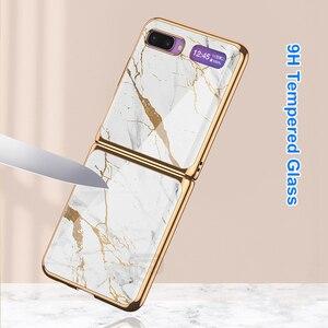 Image 4 - Étui en verre trempé en marbre pour Samsung Galaxy Z étui à rabat cadre de placage coque arrière rigide pour Samsung Galaxy Z rabat Capa de luxe