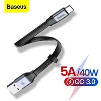 Baseus – câble USB type-c 5A de 23cm pour recharge rapide, cordon de chargeur usb-c pour téléphone Huawei P30, P20, Mate 30, 20, P10 Pro Lite