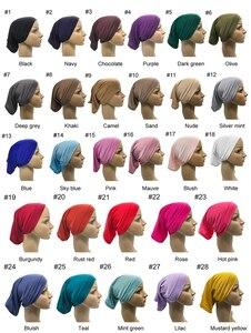 Image 5 - 1 adet sıcak satış müslüman iç başörtüsü kadınlar başörtüsü streç elastik Underscarf islam iç kapaklar tüp eşarp