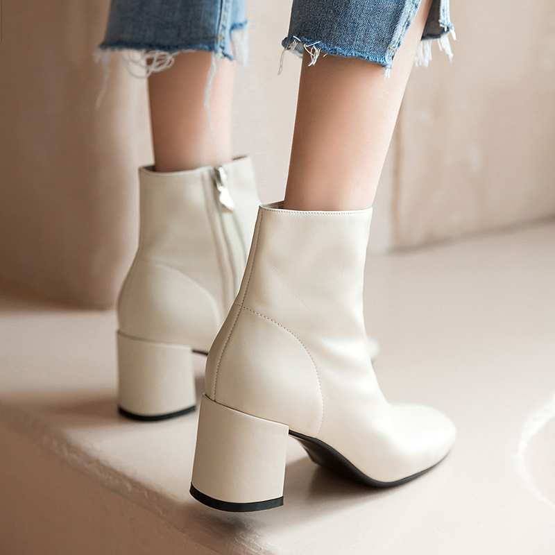 Image 2 - Krazing Pot classic basic solid genuine leather fashion simple  boots round toe high heels winter keep warm women ankle boots L05Ankle  Boots
