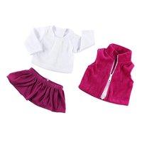 """Camisa branca rosa jaqueta saia conjunto guarda roupa makeover se encaixa para 18 """"bonecas da menina americana decoração da casa de bonecas Conjuntos de móveis infantis     -"""