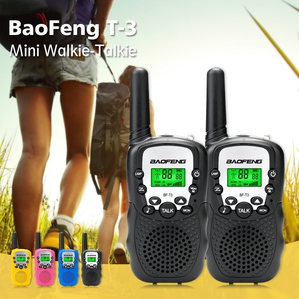 1Pair Baofeng BF-T3 Mini Children Walkie Talkie Handy 22 Channel Two Way Radio Kids 10 Call Tones UHF Transceiver T3 Communicor