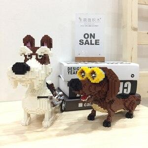 Image 3 - PZX Beagle Hound sznaucer jamnik owczarek pies zwierzę domowe Model zwierzęcia DIY Mini diamentowe klocki klocki zabawki do budowania dzieci bez pudełka