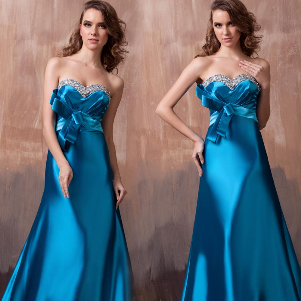 Free Shipping Dinner Vestido De Noiva 2018 Sexy Luxury Bead Bride Formal Custom Size/color Maxi Blue Long Gown  Bridesmaid Dress