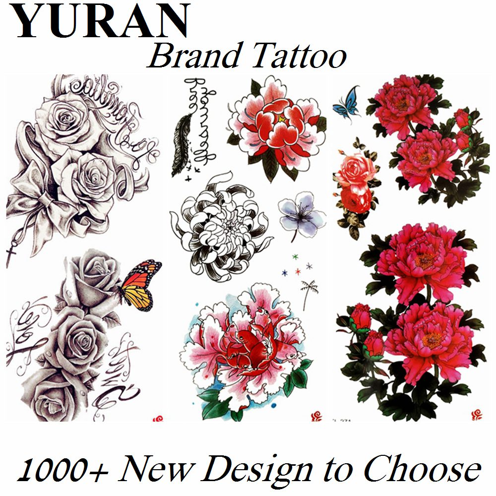 3D Flower Rose Peony Temporary Tattoos Fake Sticker For Women Girls Lily Flower Butterfly Waterproof Tattoo Paper Body Arm Tatoo