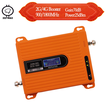 ZQTMAX Dual band 2G 4G Cell Phone Signal Booster 70dB GSM 900 signal repeater 4g lte 1800 cellular Amplifier LCD Display